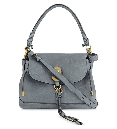 CHLOE Owen suede and leather small shoulder bag (Cloudy+blue