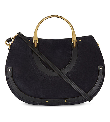 CHLOE Pixie East-West medium suede shoulder bag (Full+blue+black