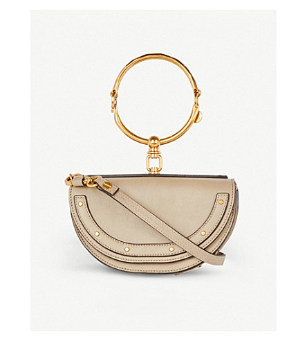 CHLOE Nile half look leather minaudière bag (Motty+grey