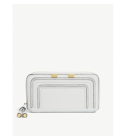 CHLOE Marcie grained leather zip-around wallet (Airy+grey