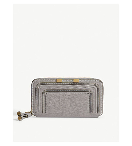 CHLOE Marcie grained leather wallet (Cashmere+grey