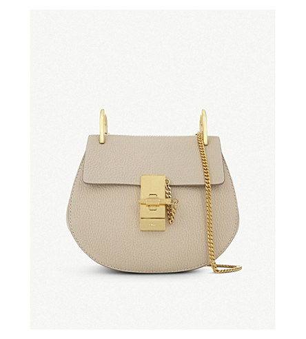 CHLOE Mini Drew pebbled leather shoulder bag (Abstract+white