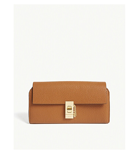 CHLOE Drew flap leather wallet (Caramel