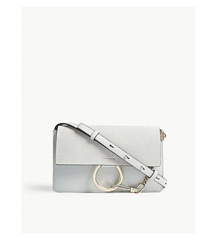 CHLOE Faye small leather and suede cross-body bag (Airy+grey