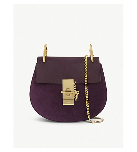 CHLOE Mini Drew suede and leather shoulder bag (Intense+violine+purple