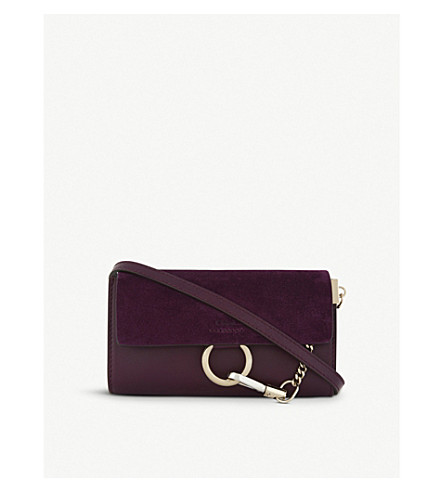 CHLOE Faye leather and suede wallet-on-chain (Intense+violine+purple