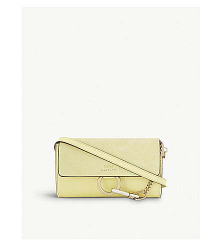 CHLOE Faye leather and suede wallet-on-chain (Lemonade