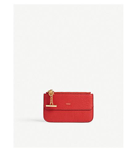 CHLOE Drew leather card holder (Plaid+red