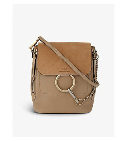 CHLOE Faye small leather and suede backpack (Blush+nude