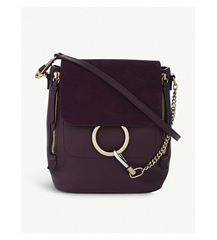 CHLOE Faye leather and suede backpack (Intense+violine+purple