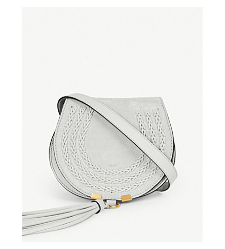 CHLOE Mini Marcie saddle-stitch suede cross-body bag (Airy+grey