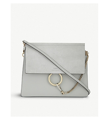 CHLOE Faye leather and suede shoulder bag (Airy+grey