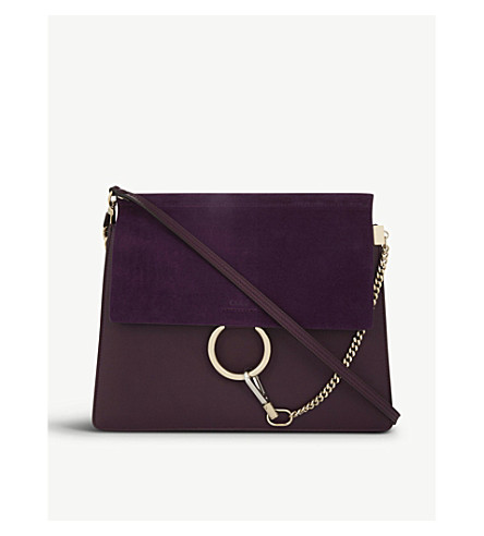 CHLOE Faye leather and suede shoulder bag (Intense+violine+purple
