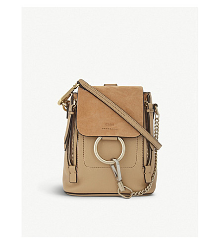 CHLOE Faye mini leather and suede backpack (Blush+nude