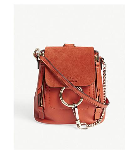 CHLOE Faye mini suede backpack (Sepia+red