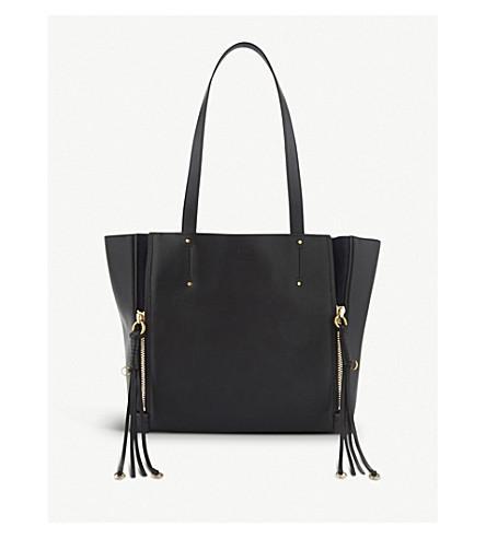 CHLOE 米洛中型皮手提包 (黑色