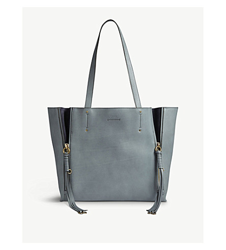 CHLOE Milo medium leather and suede tote (Cloudy+blue