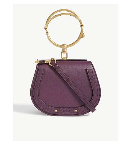 CHLOE Nile small leather and suede shoulder bag (Intense+violine+purple