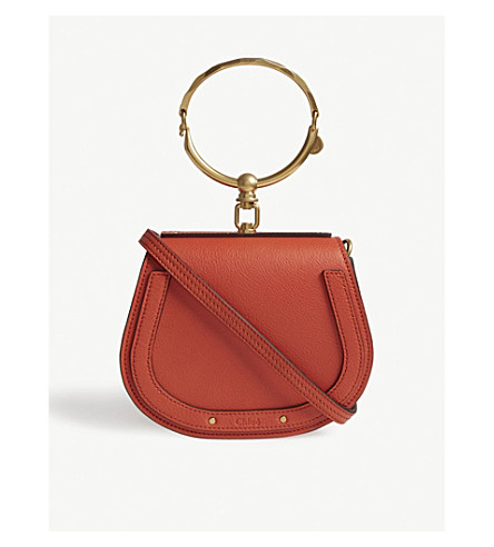 CHLOE Nile small leather cross-body bag (Sepia+red