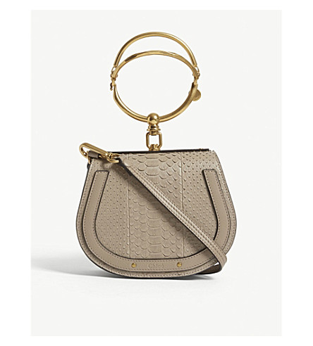 CHLOE Nile small python-embossed leather cross-body bag (Motty+grey