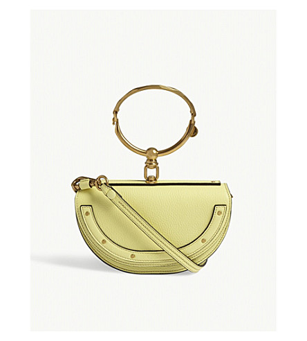 CHLOE Nile half moon pebbled leather shoulder bag (Lemonade