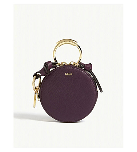 CHLOE Alphabet grained leather coin purse (Intense+violine+purple