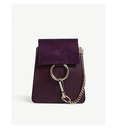 CHLOE Faye leather and suede shoulder bag (Intense+violine+purple