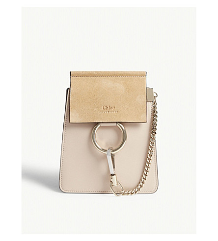 CHLOE Faye leather and suede cross-body bag (Cement+pink