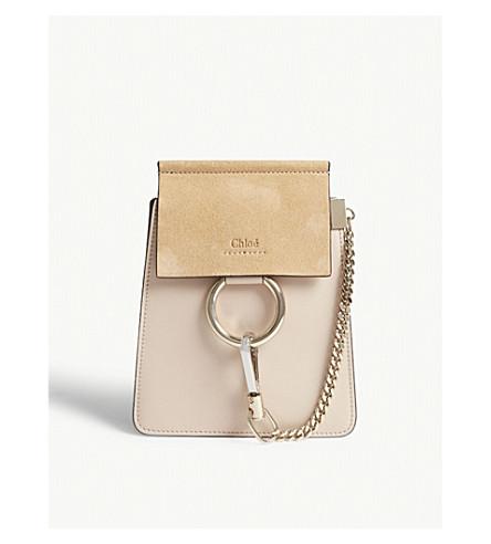CHLOE 王菲皮革和麂皮挎袋 (水泥 + 粉红色