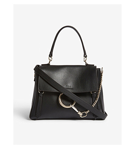 CHLOE Faye Day small grained leather shoulder bag (Black