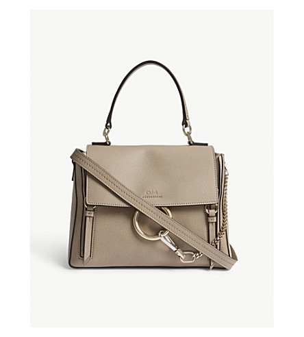 CHLOE Faye Day small grained leather shoulder bag (Motty+grey