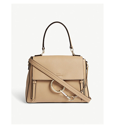 CHLOE Faye Day small grained leather shoulder bag (Blush+nude