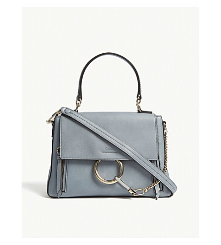 CHLOE Small Faye Day leather shoulder bag (Cloudy+blue