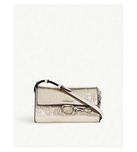 CHLOE Faye crinkled metallic leather shoulder bag (Gold