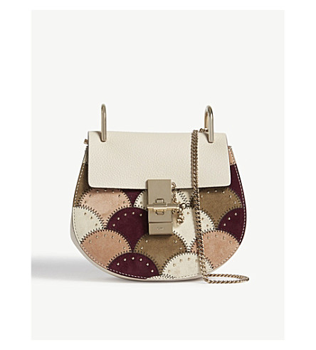 CHLOE Mini Drew Patchwork suede-leather shoulder bag (Abstract+white