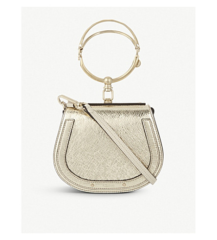 CHLOE Nile metallic leather cross-body bag (Gold