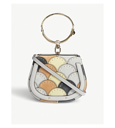 CHLOE Nile patchwork leather and suede cross-body bag (Airy+grey