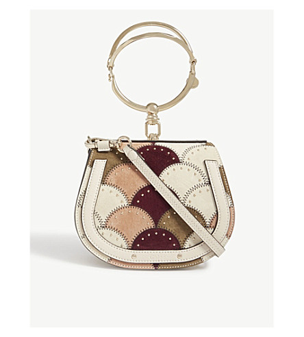 CHLOE Nile small leather and suede shoulder bag (Abstract+white