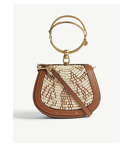 CHLOE Nile Raffia cross-body bag (Caramel