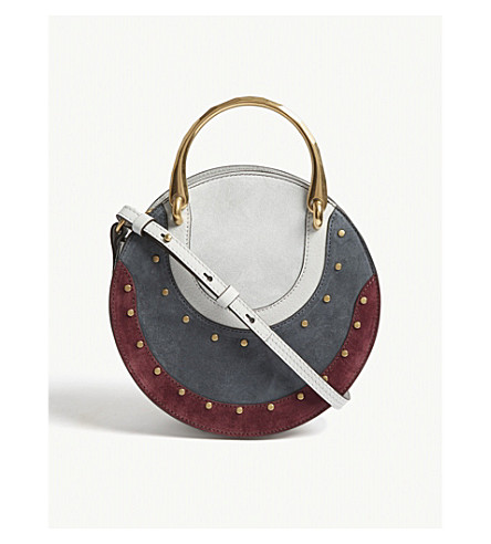 CHLOE Pixie small suede studded shoulder bag (Airy+grey