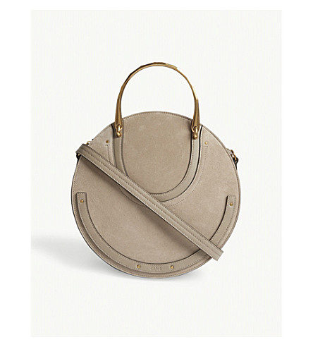 CHLOE Pixie large leather and suede shoulder bag (Motty+grey