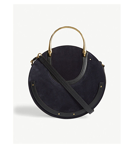 CHLOE Pixie large leather and suede shoulder bag (Full+blue