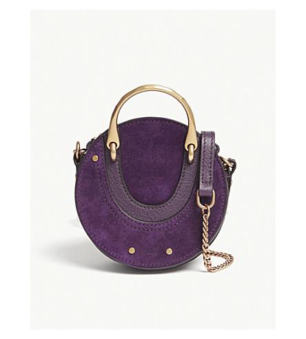 CHLOE Pixie nano suede and leather cross-body bag (Intense+violine+purple