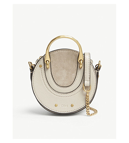 CHLOE Pixie nano leather and suede cross-body bag (Pastel+grey