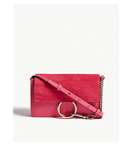 CHLOE Faye small leather and suede cross-body bag (Fushia rose