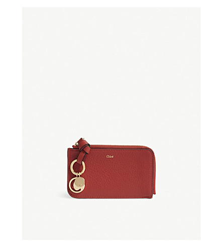 CHLOE ABC leather card holder (Earthy red