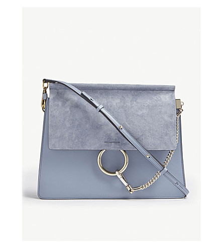 CHLOE Faye suede and leather medium shoulder bag (Washed blue