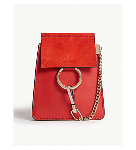 CHLOE Faye leather and suede bracelet bag (Plaid+red c0bd1f1678b1