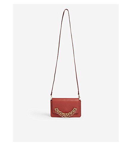 CHLOE Drew Bijou leather clutch (Earthy red