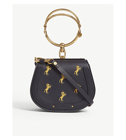 CHLOE Nile horse small leather and suede cross-body bag (Full blue
